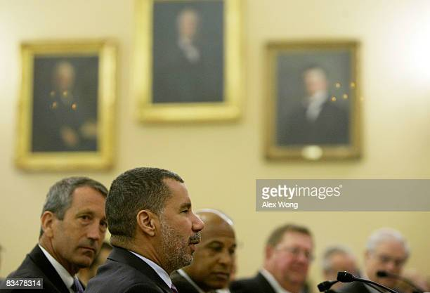 New York State Gov David Paterson testifies as South Carolina Gov Mark Sanford and Mayor Douglas Palmer of Trenton New Jersey listen during a hearing...