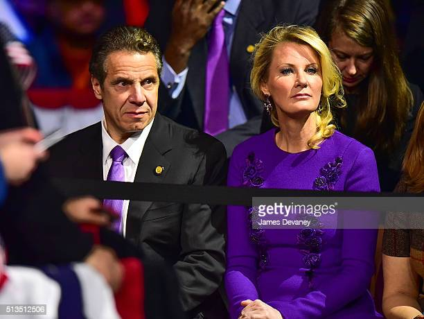 New York State Governor Andrew Cuomo and Sandra Lee attend Hillary Clinton's PostSuper Tuesday Rally at The Jacob K Javits Convention Center on March...