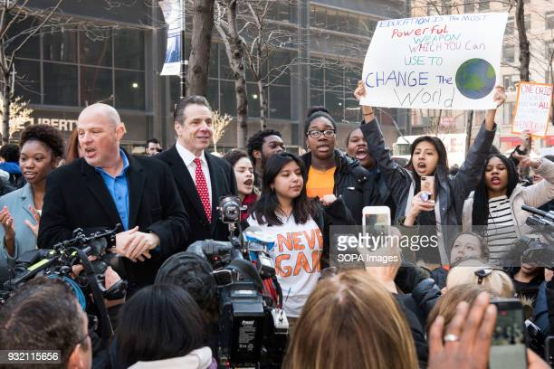 New York State Governor Andrew Cuomo and United Federation of Teachers president Michael Mulgrew at the National School Walkout a 17 minute walkout...