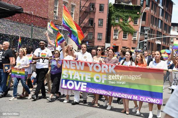 New York State Governor Andrew Cuomo attends the 2018 New York City Pride March on June 24 2018 in New York City