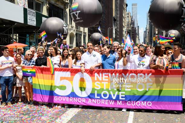 New York State Governor Andrew Cuomo during the New York City Pride March on Fifth Avenue in New York City.