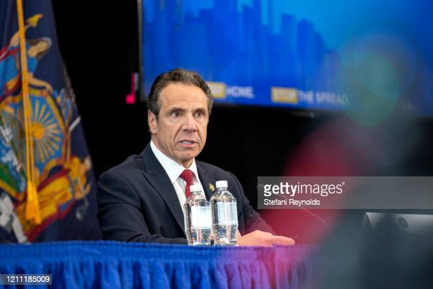 New York State Governor Andrew Cuomo speaks during his daily Coronavirus press briefing at SUNY Upstate Medical University on April 28, 2020 in...