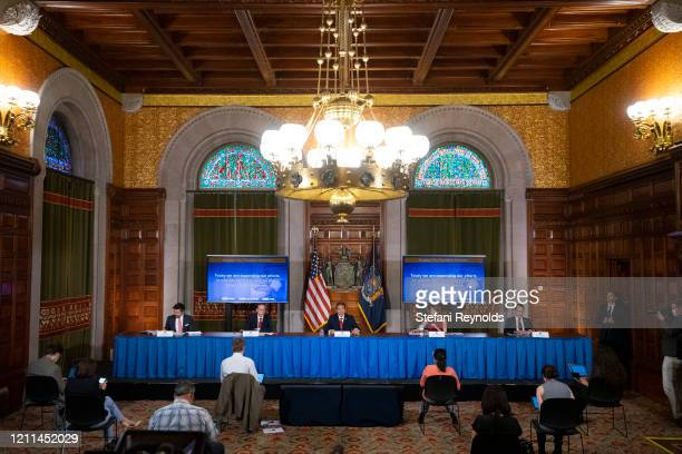 New York State Governor Andrew Cuomo speaks during his daily press briefing on May 1, 2020 in Albany, New York. Cuomo stated that New York will...