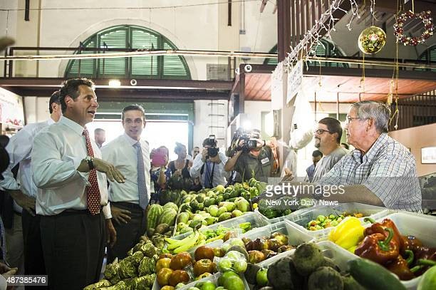 New York State Governor Andrew Cuomo visits a market in Old San Juan Puerto Rico with the Governor of the Commonwealth of Puerto Rico Alejandro...