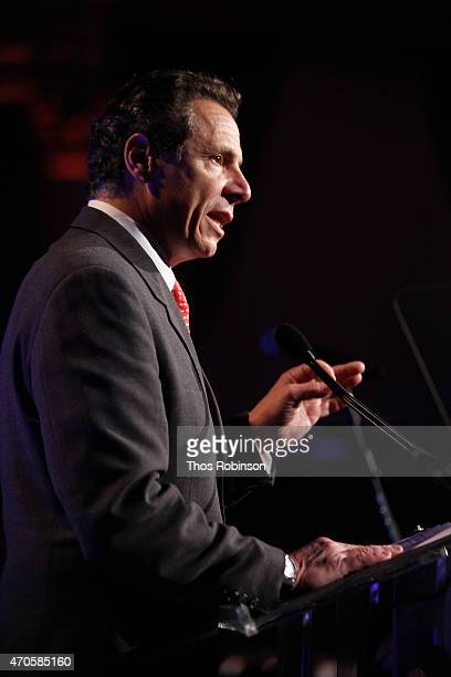 New York State Governor Andrew M Cuomo speaks onstage during the Food Bank For New York City Can Do Awards Dinner Gala at Cipriani Wall Street on...