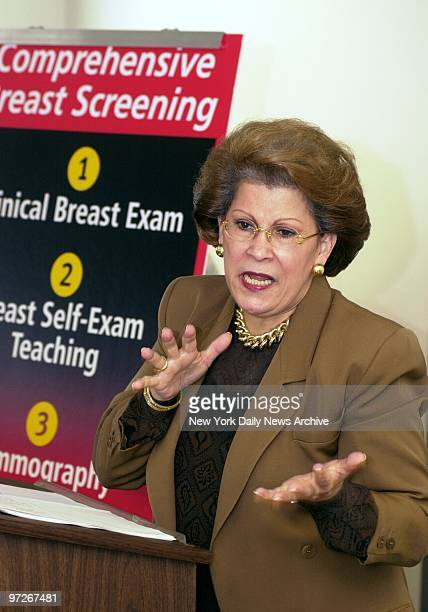 New York State Health Commissioner Dr Antonia Novello announces the suspension of the licenses of two Bronx doctors for allegedly incompetent breast...