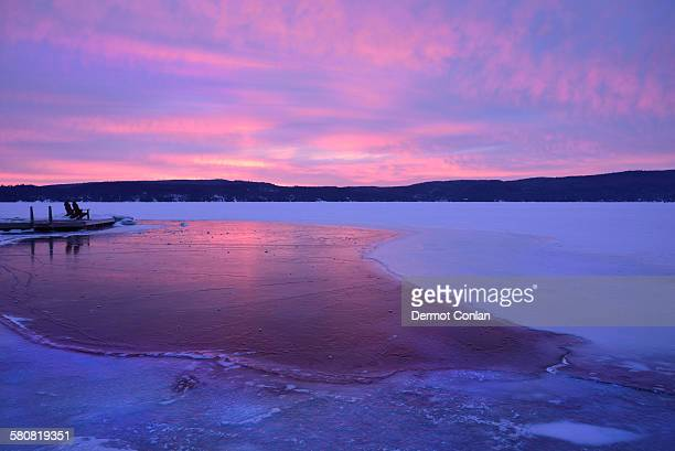 USA, New York State, Lake George in winter