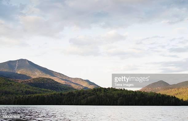 USA, New York State, Lake Placid and mountains