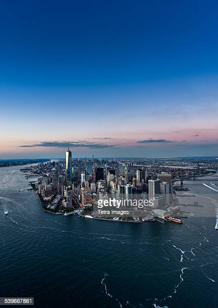 USA, New York State, New York City, Aerial view of city with Freedom tower at night