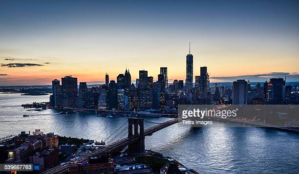 USA, New York State, New York City, Aerial view of downtown at dusk