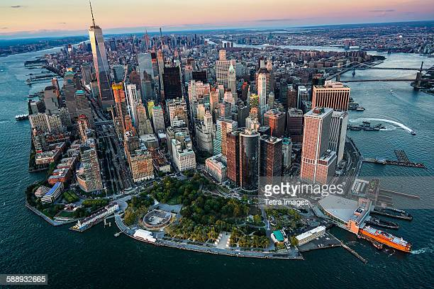 New York State, New York City, Aerial view of downtown district