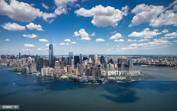 usa, new york state, new york city, aerial view of downtown - lower manhattan stock photos and pictures