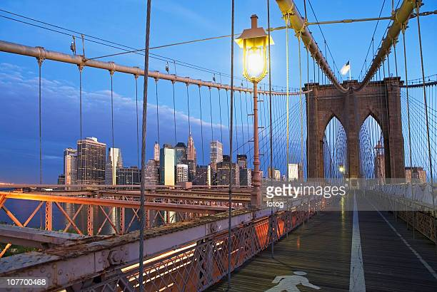 usa, new york state, new york city, brooklyn bridge at dusk - south street seaport stock pictures, royalty-free photos & images