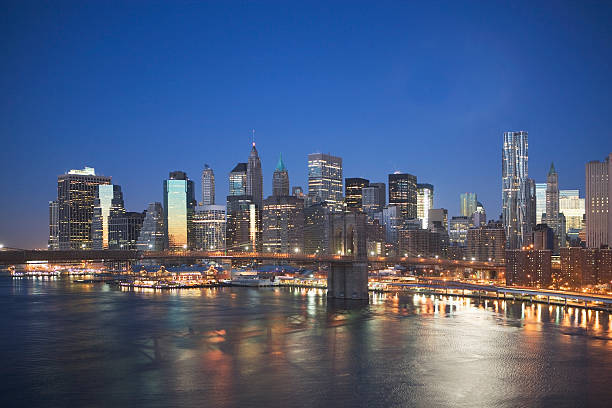 USA, New York State, New York City, Brooklyn Bridge With Cityscape At Night Wall Art