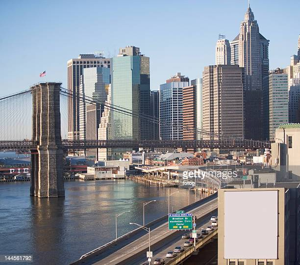 usa, new york state, new york city, brooklyn bridge with skyscrapers - billboard highway stock pictures, royalty-free photos & images