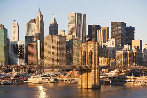 USA, New York State, New York City, Brooklyn Bridge With Skyscrapers Wall Art