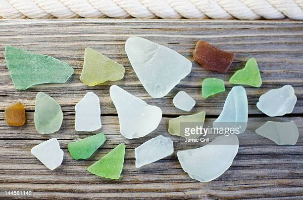USA, New York State, New York City, Brooklyn, Collection of sea glass