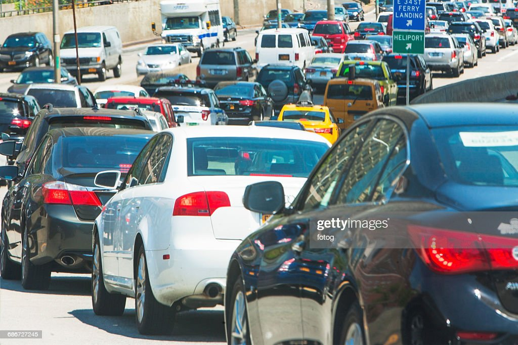 USA, New York State, New York City, Cars in city street : Stock Photo