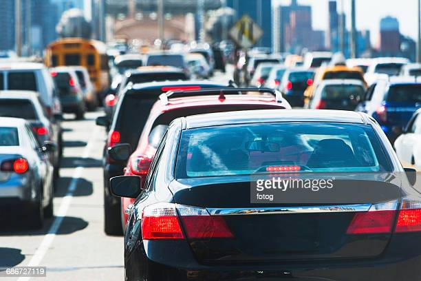 usa, new york state, new york city, cars in traffic jam - roadblock stock pictures, royalty-free photos & images