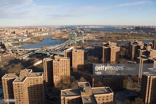 usa, new york state, new york city, cityscape with triboro bridge - east harlem - fotografias e filmes do acervo