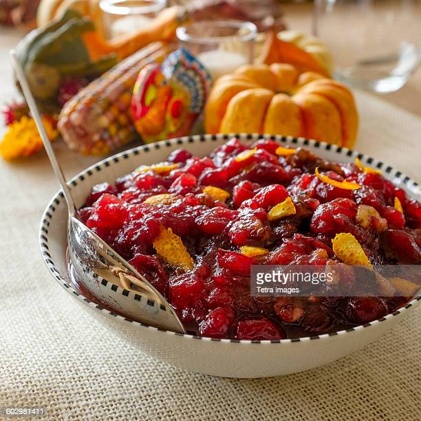 usa, new york state, new york city, close-up of pumpkin pie for thanksgiving - cranberry sauce stock photos and pictures