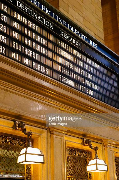 usa, new york state, new york city, departure table in grand central station - grand central station stock photos and pictures
