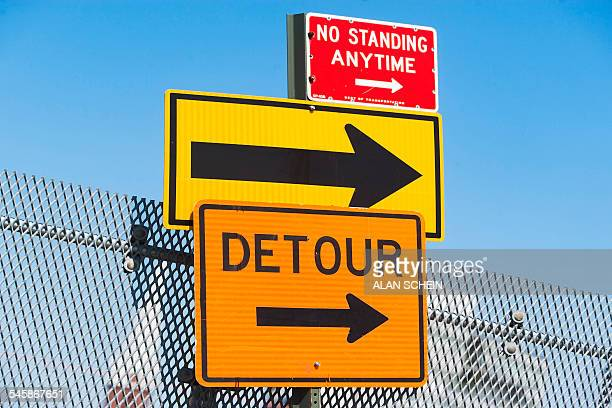 usa, new york state, new york city, detour sign and arrow - detour sign stock photos and pictures