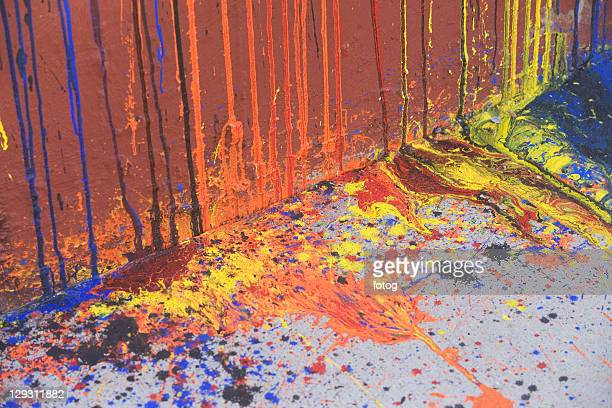 USA, New York State, New York City, Dripping paint on wall and asphalt
