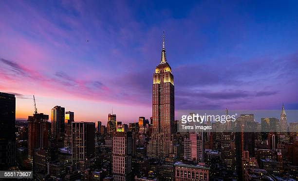 USA, New York State, New York City, Empire State Building at dusk