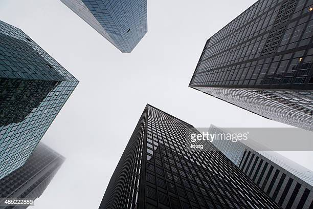 usa, new york state, new york city, facade of modern office buildings - ウォール街 ストックフォトと画像