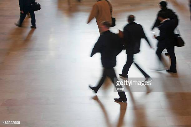 USA, New York State, New York City, High angle view of people walking at Grand Central Station