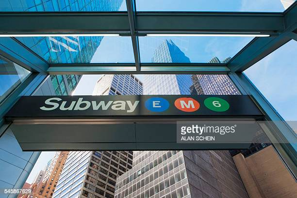 usa, new york state, new york city, information sign at subway entrance - entrance sign stock photos and pictures