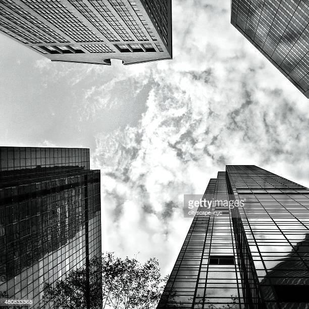 USA, New York State, New York City, Looking up at Skyscrapers of Madison and Fifth Avenues
