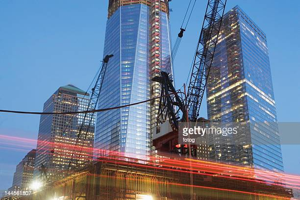 USA, New York State, New York City, low angle view of illuminated skyscrapers