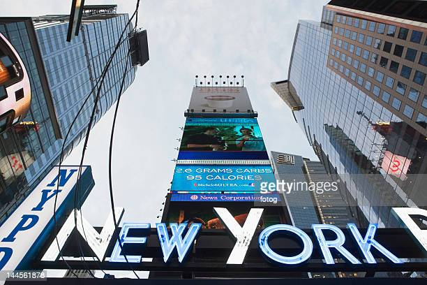 USA, New York State, New York City, low angle view of neon