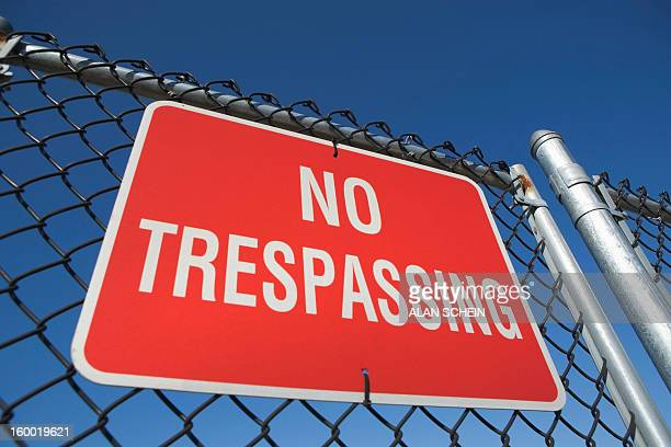 USA, New York State, New York City, Low angle view of no trespassing sign