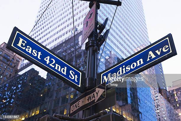 USA, New York State, New York City, low angle view of street name sign