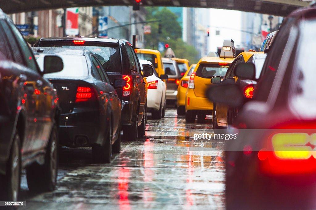 USA, New York State, New York City, Manhattan, Car traffic : Stock-Foto