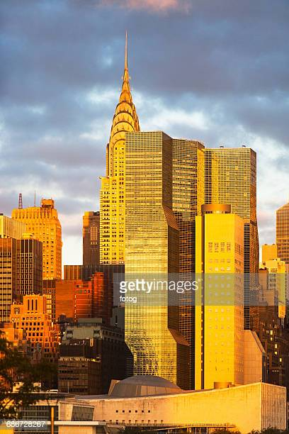 USA, New York State, New York City, Manhattan, City at sunset