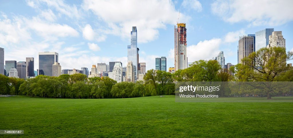 USA, New York State, New York City, Manhattan skyline with Central park in foreground : Stock Photo