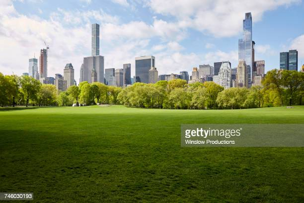 USA, New York State, New York City, Manhattan skyline with Central park in foreground