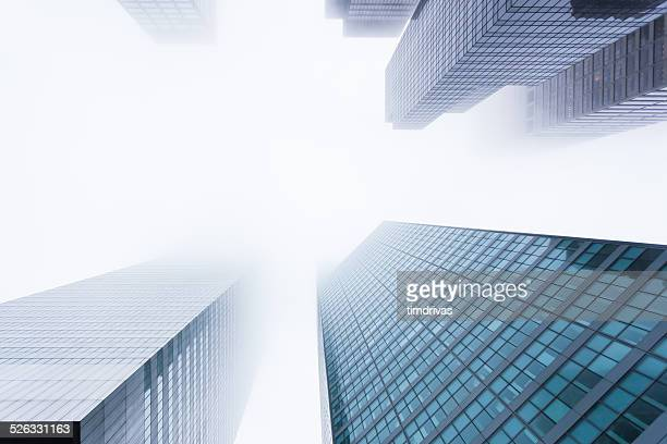 usa, new york state, new york city, manhattan, view of skyscrapers in mist - high section stock pictures, royalty-free photos & images