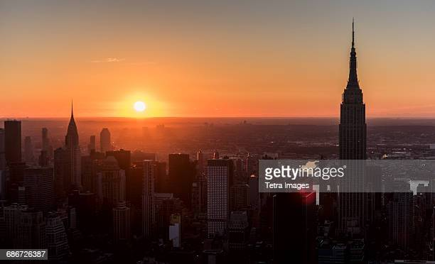 USA, New York State, New York City, Office buildings at sunrise