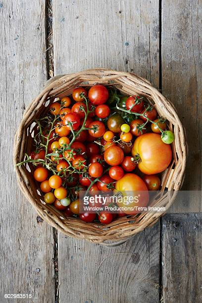 USA, New York State, New York City, Overhead view of basket with tomatoes