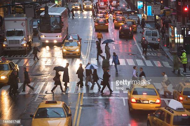 usa, new york state, new york city, pedestrians on zebra crossing - pedestrian stock pictures, royalty-free photos & images