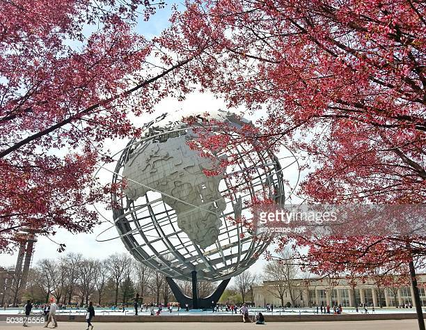 usa, new york state, new york city, queens, flushing meadows park, view of unisphere - flushing queens stock pictures, royalty-free photos & images