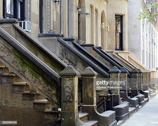 usa, new york state, new york city, row of houses - sandstone stock pictures, royalty-free photos & images