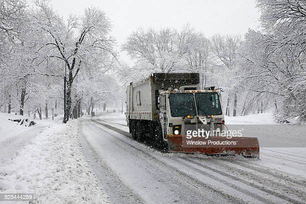 usa, new york state, new york city, snowplow on street - road salt stock pictures, royalty-free photos & images