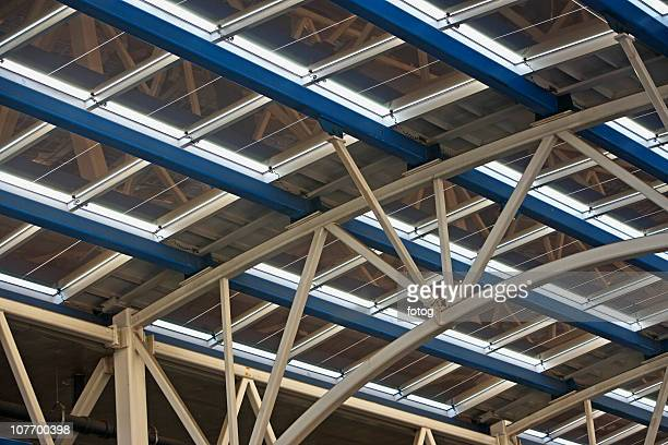 USA, New York State, New York City, Solar panels on glass roof of modern building