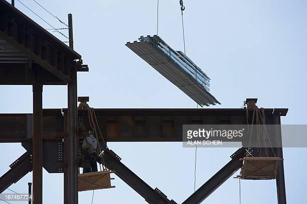 USA, New York State, New York City, Steel building framework